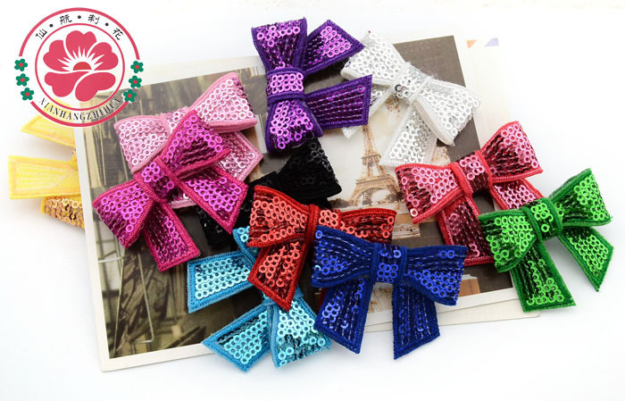 Free shipping 40pcs/color colorful children's hair accessories embroidery flash sequined bow bead piece the tie hair bow HTT301(China (Mainland))