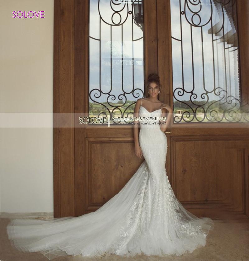 2015 спагетти ремень ручной работы цветок бусины тюль свадебное платье 2015 русалка свадебное платье свадебные платья noiva ( SLW-063 )