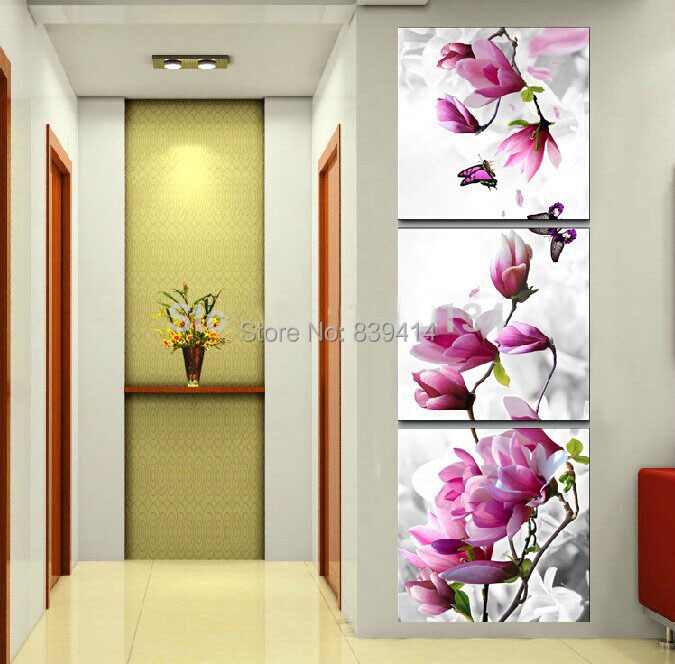 Vertical Orchid diy diamond painting triptych decor painting square drill rhinestone embroidery painting by numbers(China (Mainland))