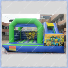 2015 NEW DESIGN Teenage Mutant Ninja Tu Inflatable Bouncer with Slide for Kids/Commercial Inflatable Bouncy Combo(China (Mainland))
