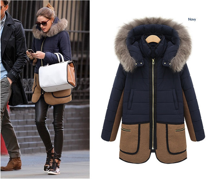 2014 European and American ladies woolen coat fall and winter thick cotton stitching hooded coat jacket and long sections women(China (Mainland))
