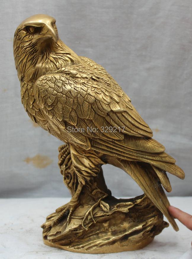 "9"" China Chinese Folk Fengshui Brass Fu Animal king of birds Hawk Eagle Statue(China (Mainland))"
