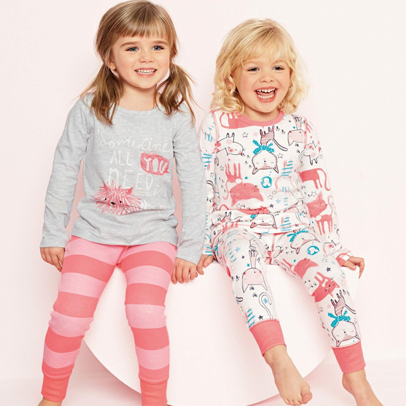 New children clothes sets, baby girls sleepwear, long sleeve leisure wear, kids pajamas,next* girl clothing style for 2-7 yrs(China (Mainland))