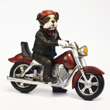Hot Creative Personality Boston Terrier Dog Harley Locomotive Motorcycle Resin Dog Ornaments Figurine Statue Best Gift(China (Mainland))