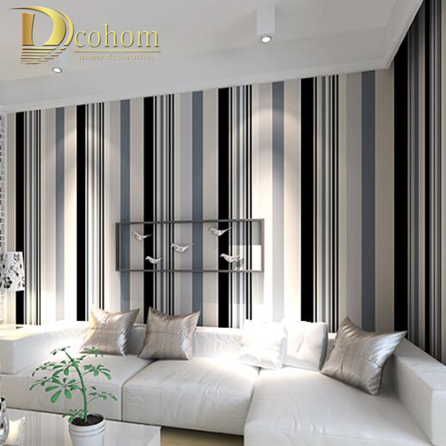 Buy modern black and white grey vertical for Grey wallpaper living room ideas