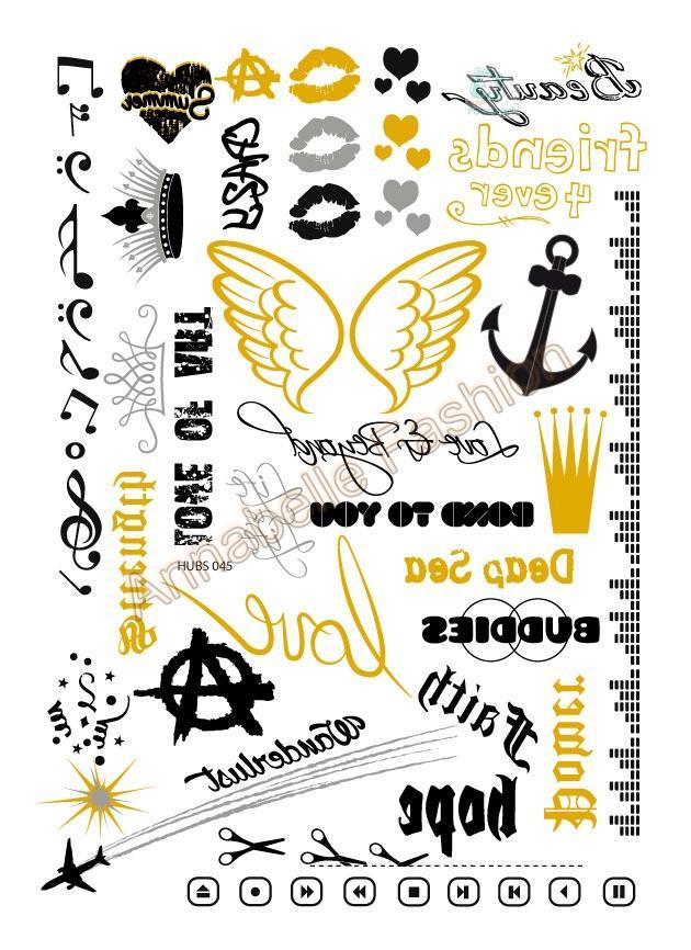 HUBS045 New Gold Golden tatuagem Taty Body Art Temporary Tattoo Stickers Metallic Glitter Drawing Paint Tatoo Sticker(China (Mainland))