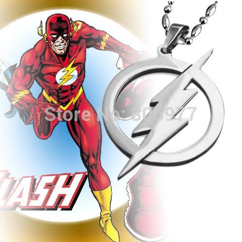 DC SUPER HERO Вспышки ожерелье Молния Логотип Из Нержавеющей Стали Кожа Кольчуга подвески Мужчины Ювелирные Изделия