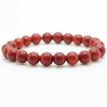 Natural Stone Bracelet High Quality Glossy Red Coral Cute 6MM Beads Classical Original Simple Elegant Bracelet Men And Women
