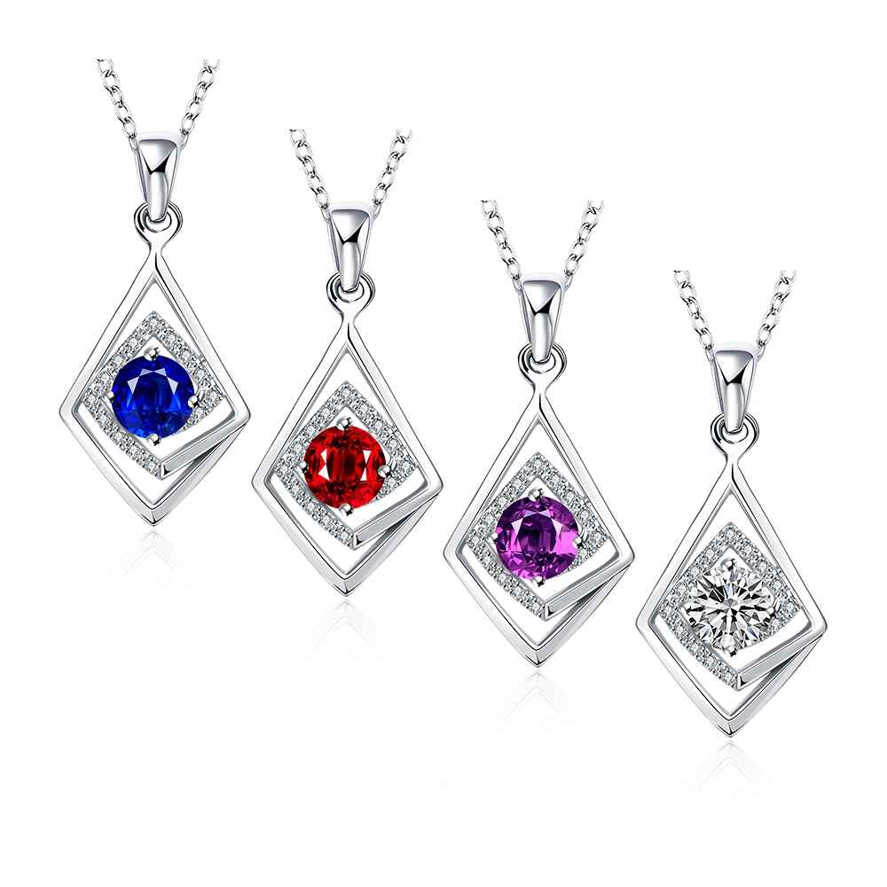 Free Shipping 2015 silver plated necklaces Geometric crystal insets bead necklace Gift for her FSPN033(China (Mainland))