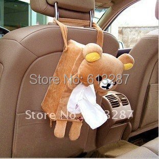 Kawaii Plush Rilakkuma Back Hanging Tissue Box Cover,Car Tissue Pumping,Tissue Box Holder Auto Supplies Retail KCS