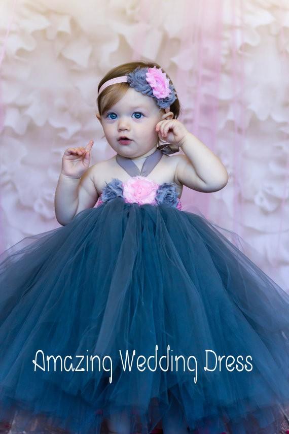 Dark Blue Baby Cute Halter Puffy Ball Gown Big Flower