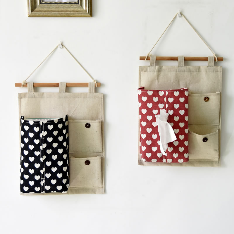 Free Shipping Jute Naturally Wall Hanging Bags Home Decorating Heart Design Organizer Sundries Cosmetic Storage Bags(China (Mainland))