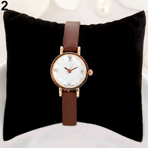 Unique Women Alloy Case Rhinestone Rose Gold Ultra-thin Watches Faux Leather Band Wrist Watch<br><br>Aliexpress