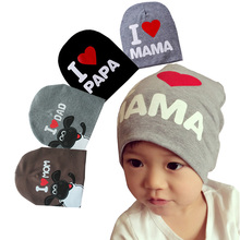Lovely I Love MAMA PAPA print baby hat caps kids cotton beanie for 1-3 year old baby boy & girl,bonnet newborn photography props(China (Mainland))