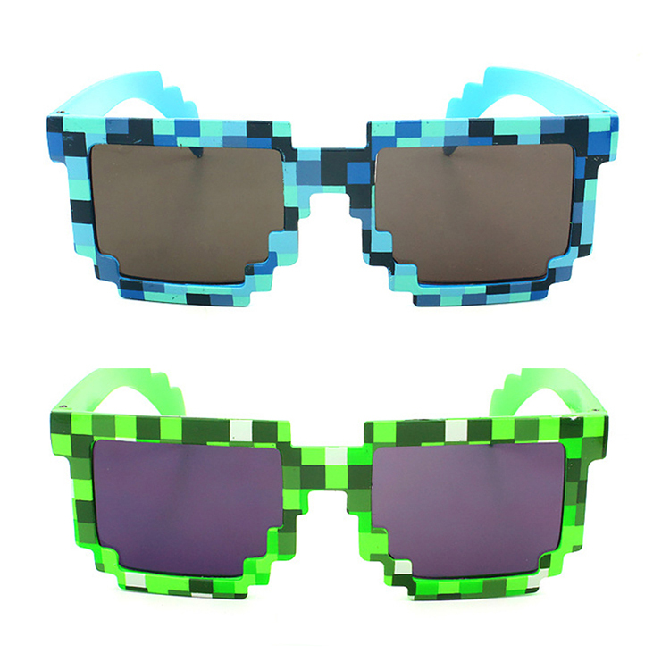 New Fashion Summer Style Cute & Lovely Color Blue Green Vintage Square Novelty Mosaic Glasses Unisex Pixel Sunglasses(China (Mainland))