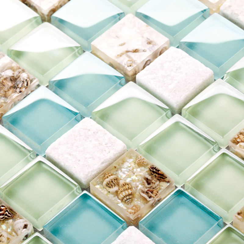 Blue Color Crystal Glass Mixed Sea Shell Mosaic Hmgm1148 For Kitchen Backsplash Tile Bathroom