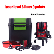 Rechargeable 8 Lines 9 Points Laser Level 360 Rotary Corss Tilt Function Red Lazer Line Can Be Used with Outdoor Detector WAL01(China (Mainland))