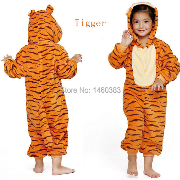 Hot New Unisex Kids Children Boys Girls Cosplay Costume Pajamas Animal Onesie Tigger Sleepwear XS S M L XL(China (Mainland))