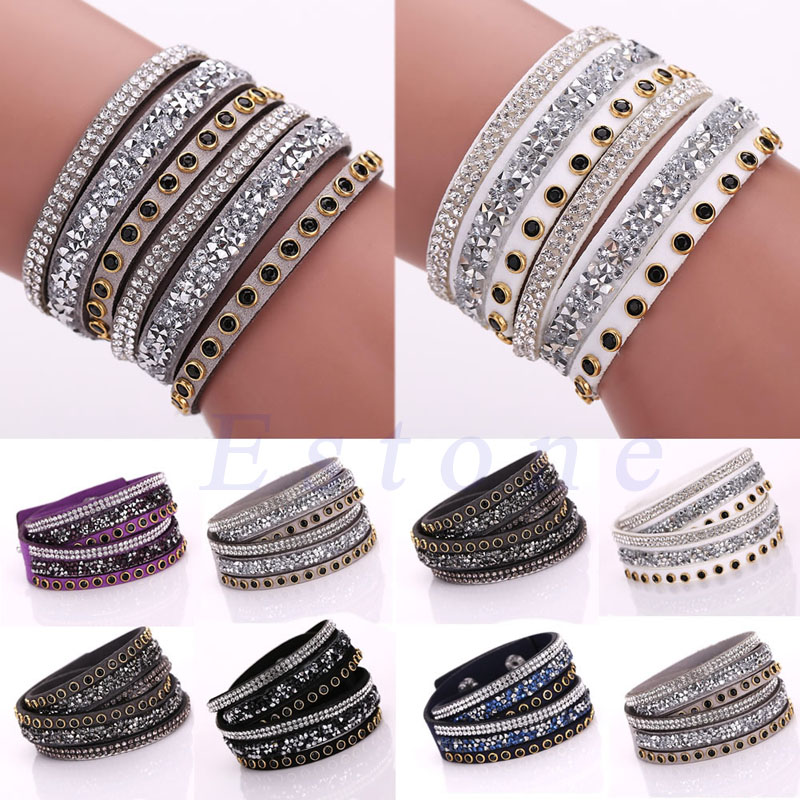 1pc Punk Bracelet Multilayer Leather Wrap Wristband Cuff Crystal Rhinestone Bracelet Bangle(China (Mainland))