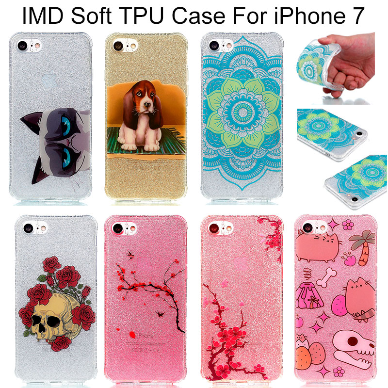 Anti-Drop Shimmering Powder Double IMD Soft TPU Back Protective Cover for Apple iPhone 7 7 Plus Mobile Phone Cases Peach Mandala(China (Mainland))