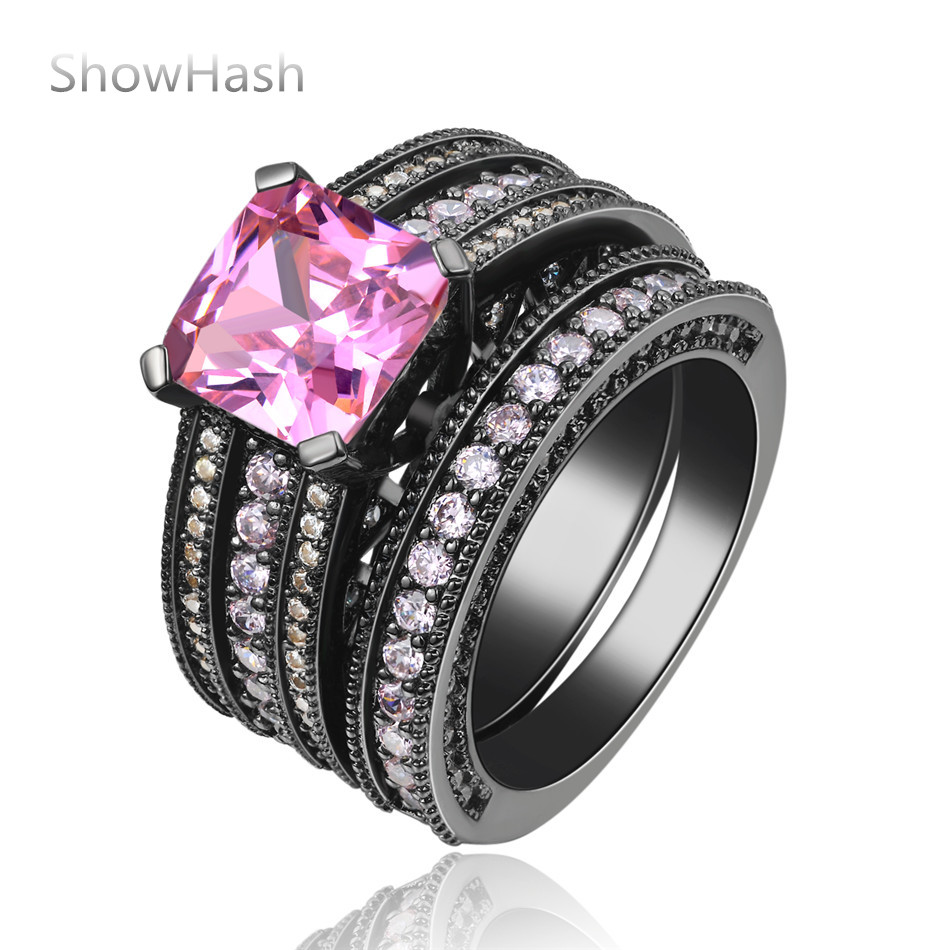 Classic Personality Pink Zircon Party Ring Vintage Wedding Bands Noble Jewelry For Valentine's Day Party For Women SHAC375(China (Mainland))