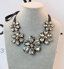 Star Jewelry 2014 Summer Fashion Elegant Gem Flower Choker Necklace Acrylic Collar Necklace For Women Wholesale Jewelry