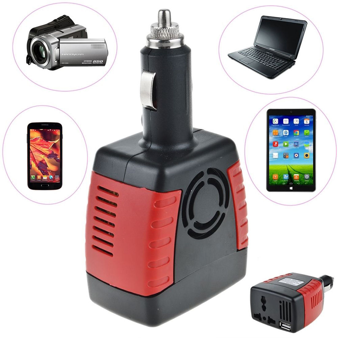 New High Quality Lighter Power Supply 150W 12V DC to 220V AC +USB 5V Car Power Inverter Adapter(China (Mainland))