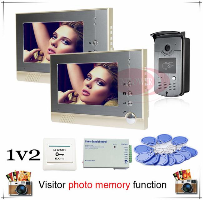 New Color Video Door Phone Intercom Doorbell RFID Access SONY 700TVL, HD Camera + Visitor Photo Memory indoor monitor 1v2(China (Mainland))