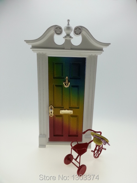 miniature 1/12 doll house accessory wood fairy door rainbow color with hand mailbox knob<br><br>Aliexpress