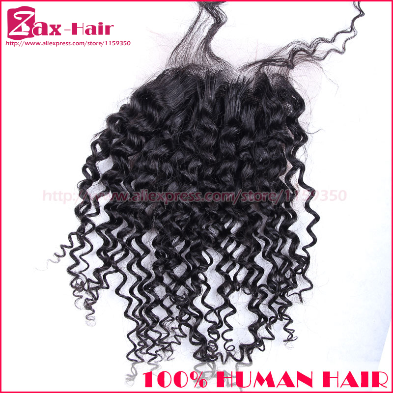 Top quality 6A closure curly natural hairline lace front closure with baby hair stocked bleached knots baby hair for black women(China (Mainland))