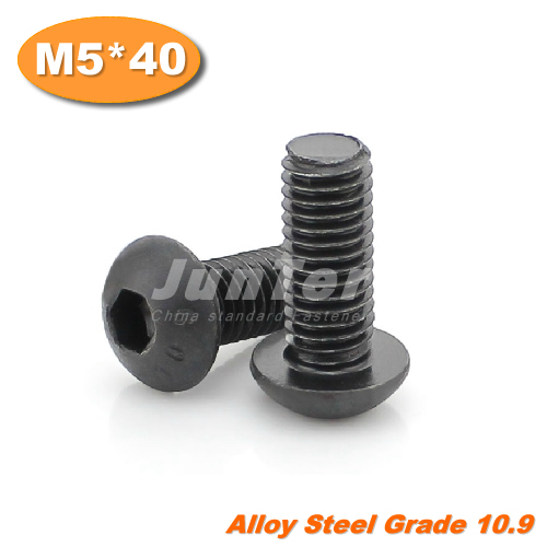 100pcs/lot ISO7380 M5*40 Grade10.9 Alloy Steel Hexagon Socket Button Head Screws<br><br>Aliexpress
