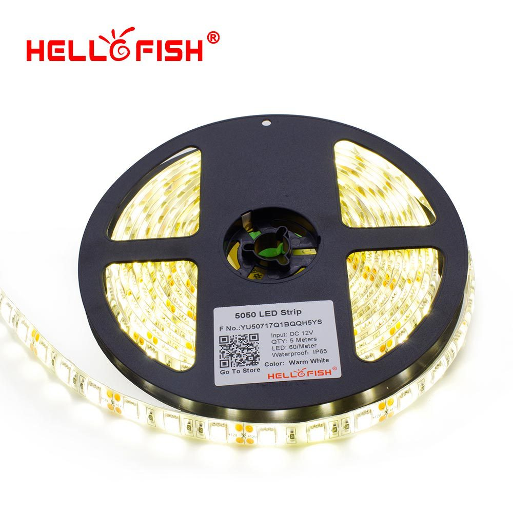 Hello Fish 5m 5050 300 SMD IP65 Waterproof LED strip,12V flexible 60led/m LED tape, white/warm white/blue/green/red/yellow/RGB(China (Mainland))