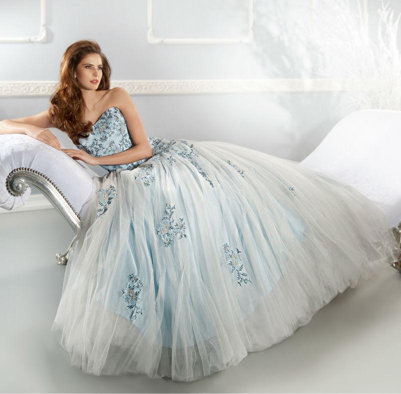 Romantic Light Blue Lace Wedding Dresses vestido de noiva ...