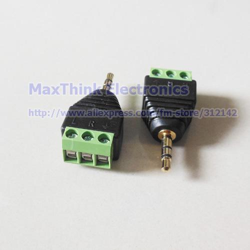 "3.5mm 1/8"" Stereo Male Plug To AV Screw Video AV Balun Terminal Plug Adapter, 5pcs , Free shipping(China (Mainland))"