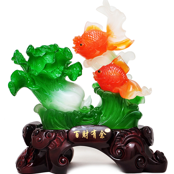 Jade Cabbage opening move fish ornaments Lucky Feng Shui interior rooms cooler living room decorative handicrafts desk(China (Mainland))