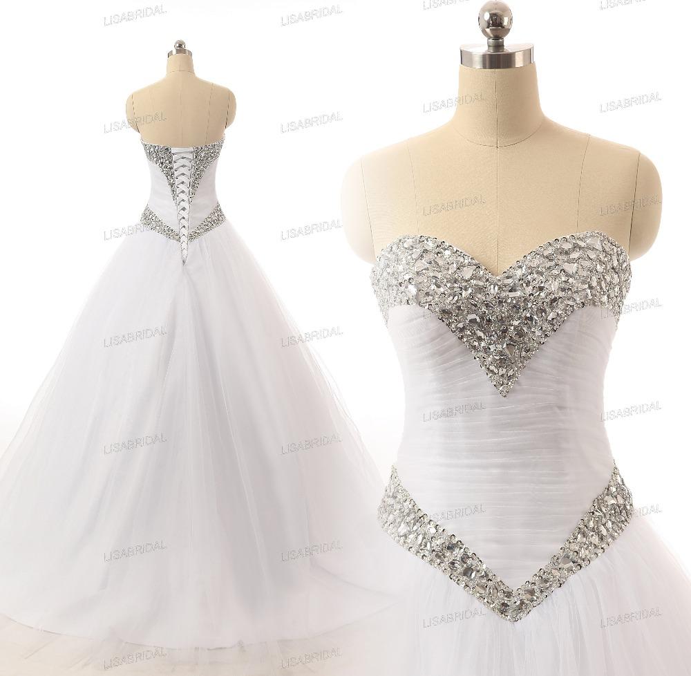 Fantastic Bling Bling Long Wedding Dress 2016 Sweetheart ... Wedding Dresses Sweetheart Neckline A Line Bling