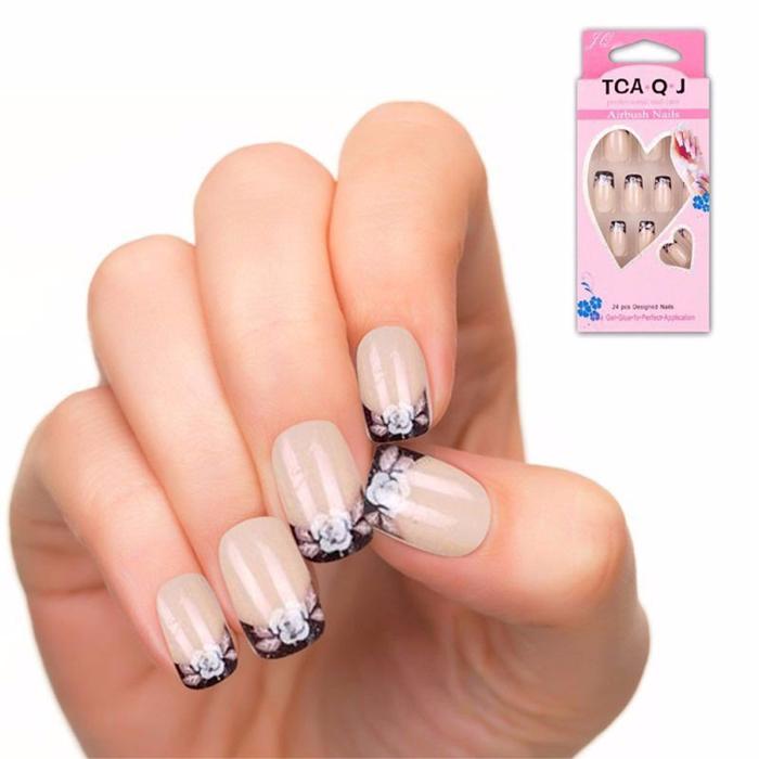 24pcs/set Acrylic Pre designed nail tips free glue color pattern false nails tip shop 12J108(China (Mainland))
