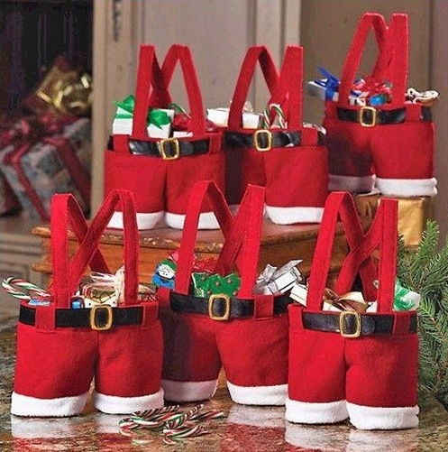 Santa pants style Christmas candy gift bag for lover/marriage wedding Christmas Decoration free shipping high quality 5pcs(China (Mainland))