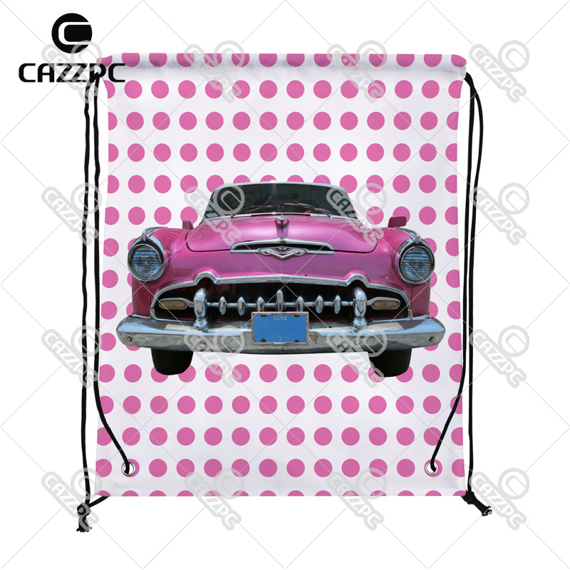 Pink Dot and Vintage old Car Print Custom individual Nylon Fabric Drawstring Shoes Storage Dust Bag Pack of 4()
