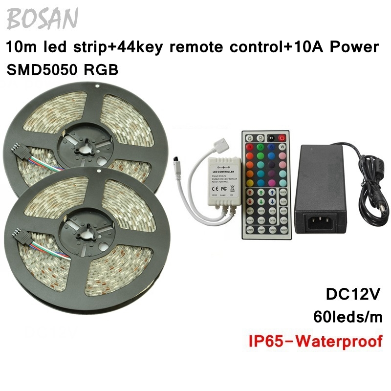 RGB led strip 10m SMD 5050 60leds/m IP65 Waterproof Strip Lighting +44 key ir remote controller +DC12V 10A Power Adapter - Tomtop supermarket store