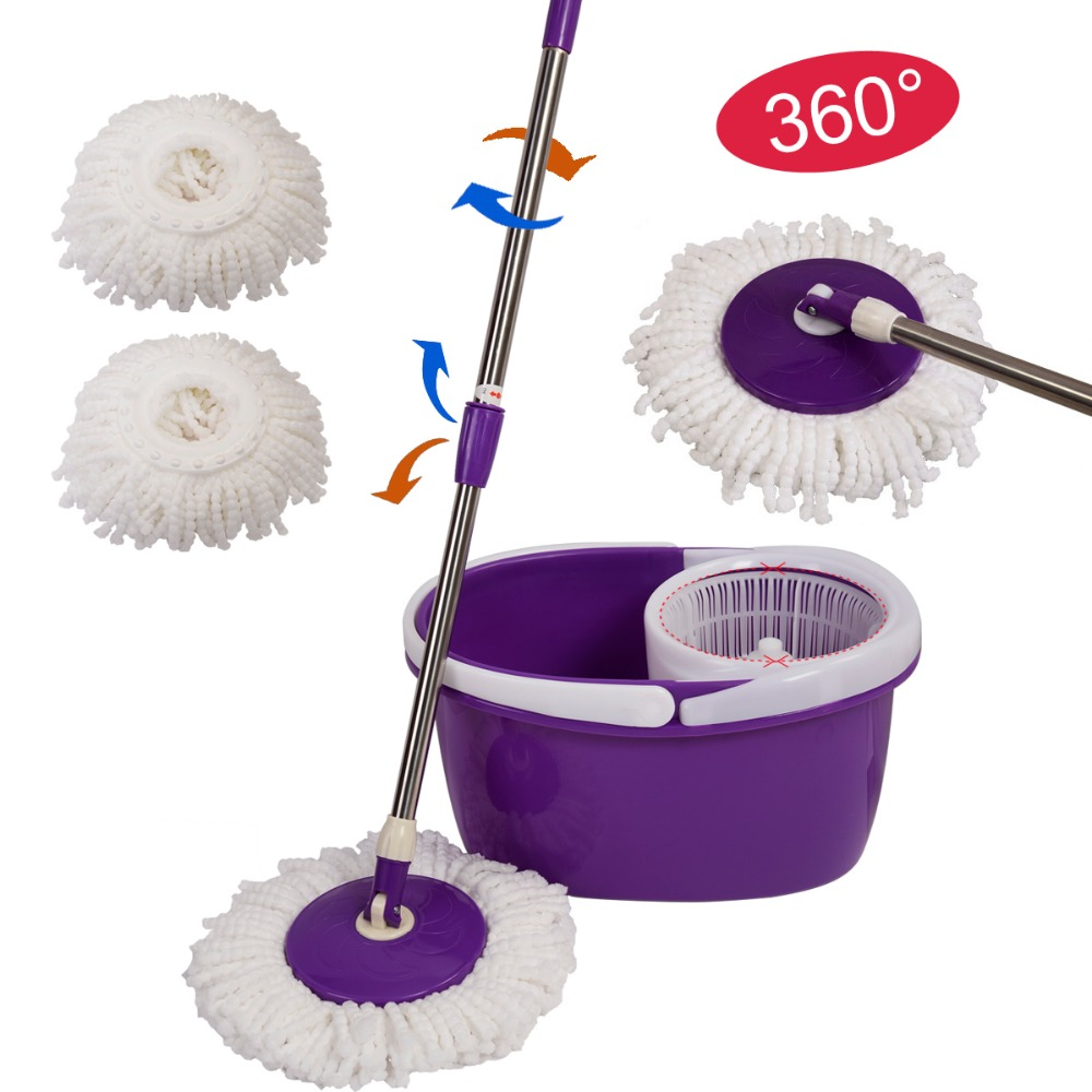 Easy Magic Floor Mop 360 Bucket 2 Heads Microfiber Spin Spinning Rotating Head Free Shipping CL11435(China (Mainland))