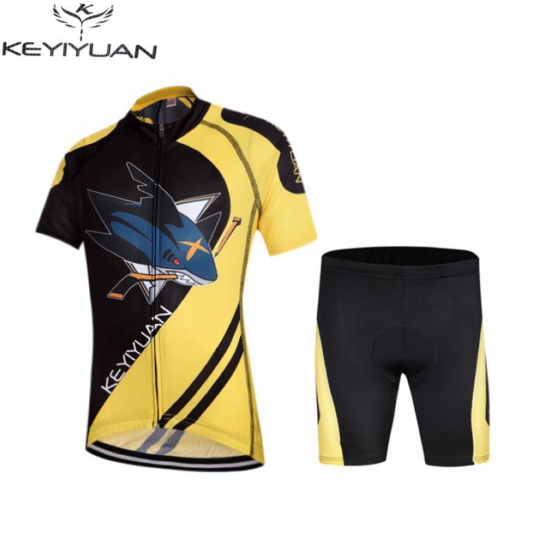 KEYIYUAN Ropa Ciclismo Team Children's Cycling Jersey Kit Bike and Shorts Set Kids Bicycle Clothing Shark(China (Mainland))