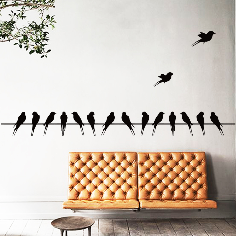 Free shipping Art Design 16 swallows on line Vinyl Wall sticker Cartoon Birds wall declas Animal home decor bedroom Living room(China (Mainland))