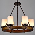 Vintage Novelty Country Style Wood Glass Candlestick Led E27 6 8 heads Chain Pendant Light for