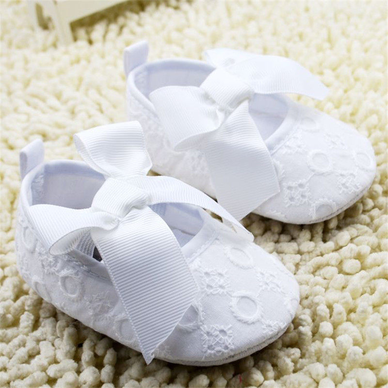2016 Pure White Baby Shoes Embroided Cotton With Satin Bow Infant Girl Shoes Sapatos Menina Babyschuhe New Born Shoes For 0-18M(China (Mainland))