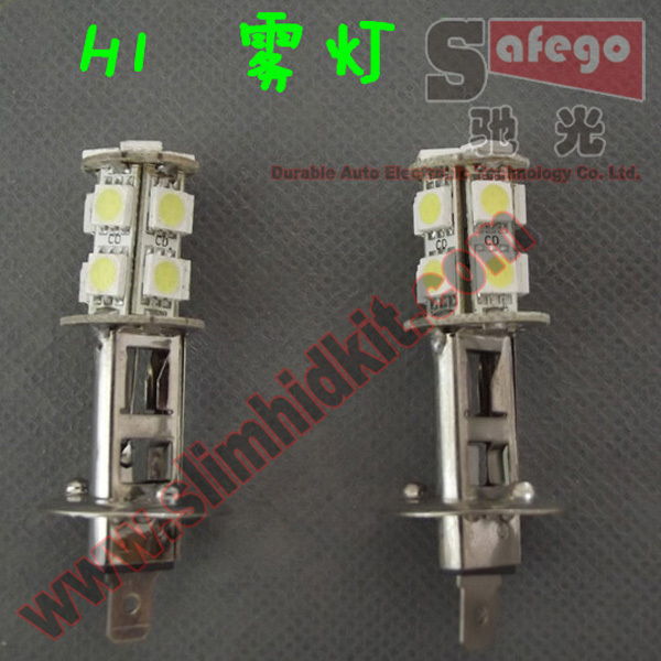 4pcs led fog light 13smd 5050 bulb led h1 12v super bright h1 360 degree led lamp 5050 h1 led bulb(China (Mainland))