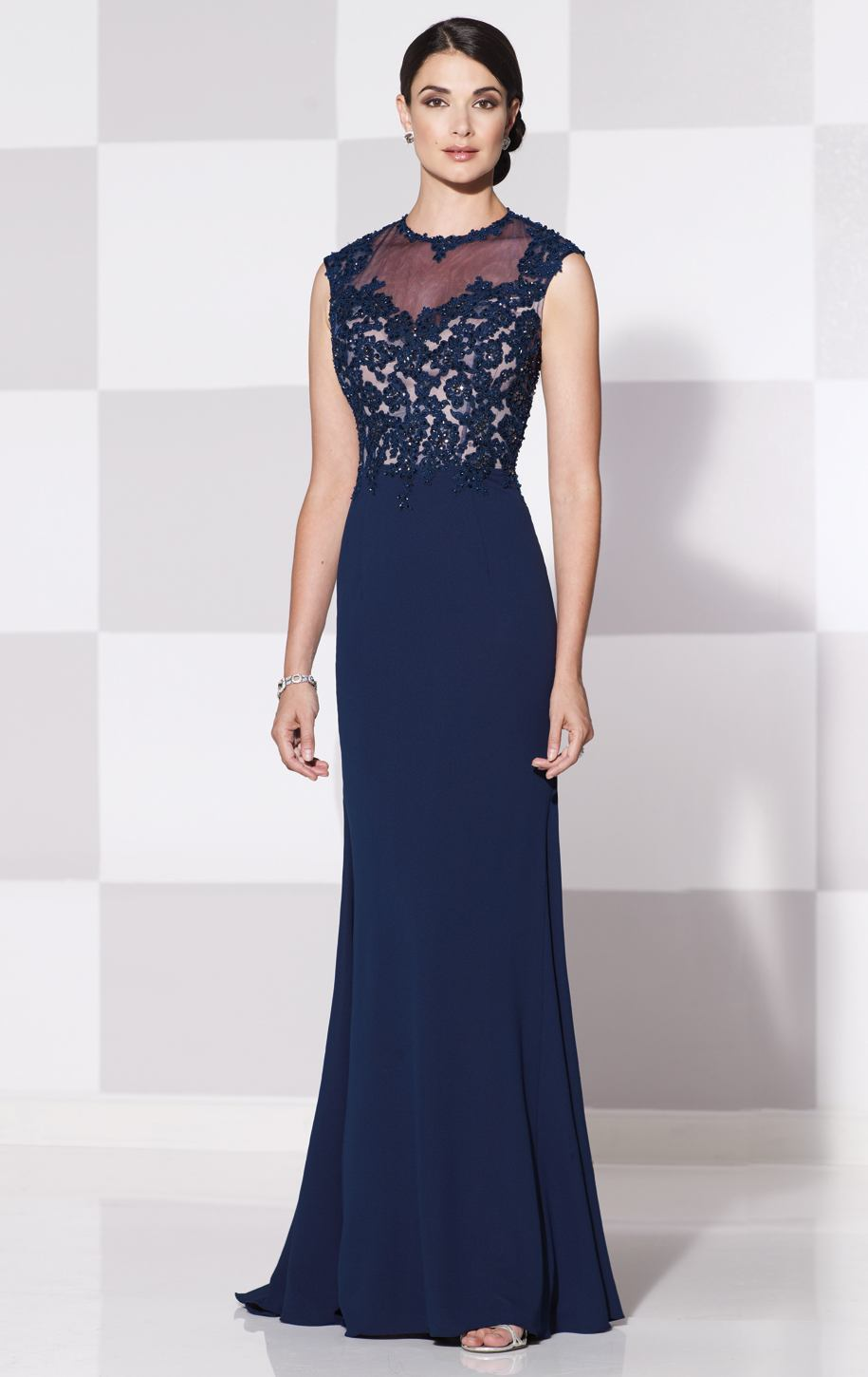 Graceful sleeveless dark navy mother of the bride dresses for Long dress for wedding mother of the bride