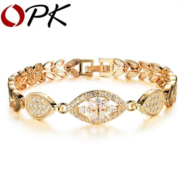 Опк роскошные 18 К позолоченный браслет звено цепи для женщин дамы сияющий AAA кубический ...