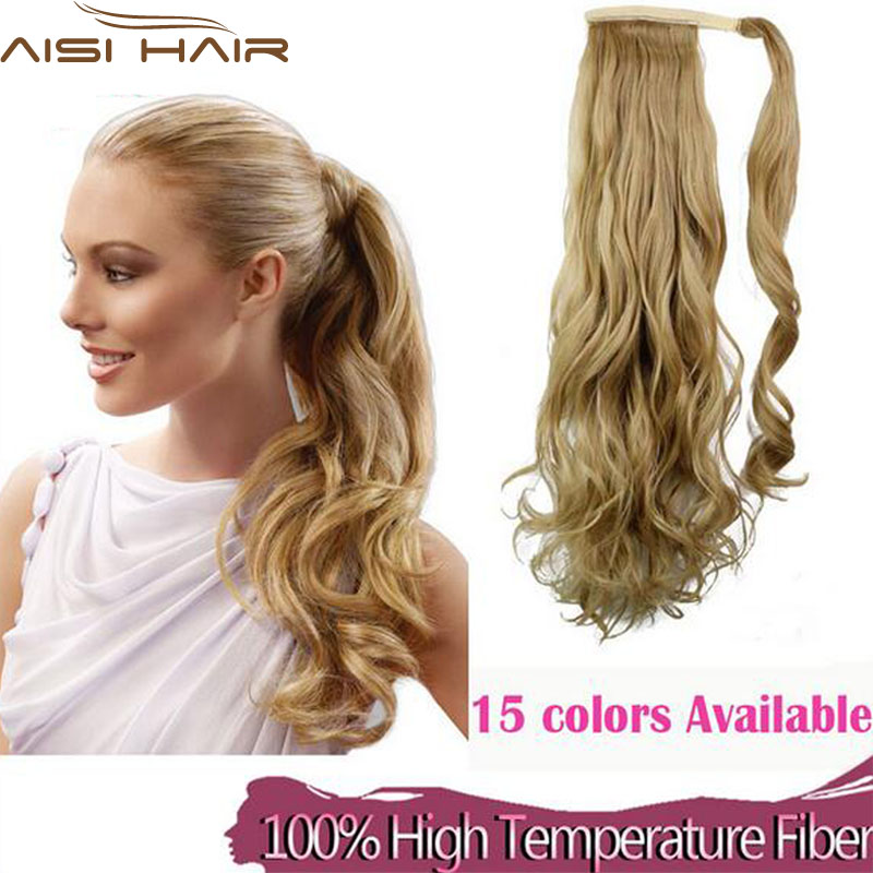 Synthetic Long Wavy Clip In Wrap Around Ponytail Fake Hair Extension False Hair Ponytails Pad Hairpiece pony Tail Curly Piece(China (Mainland))