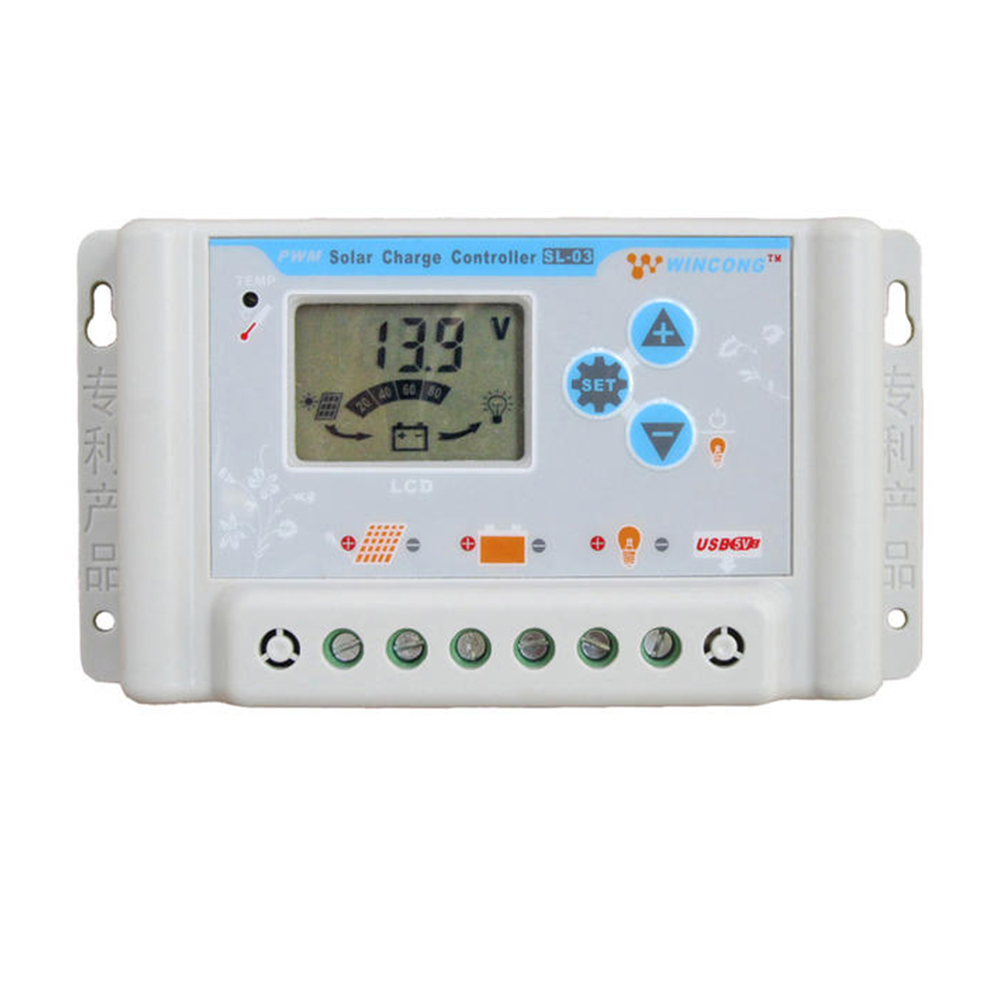 30A PWM Solar Charge Controller 12V 24V USB LCD Display Adjustable Parameter for Li Li-ion lithium LiFePO4 Batteries<br><br>Aliexpress